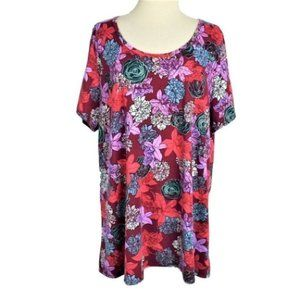 LuLaRoe Classic Tee Short Sleeve Floral Top Red